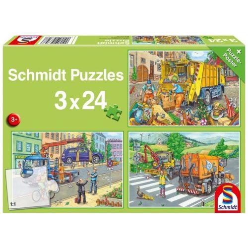 Müllwagen, Abschleppauto und Kehrmaschine, 3x24 db (56357)