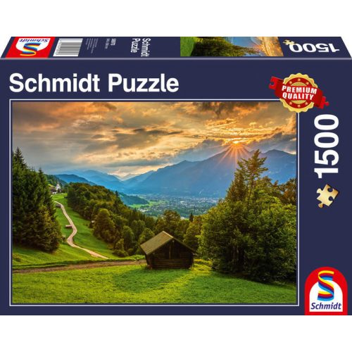 Sunset over the mountain village of Wamberg, 1500 db (58970)